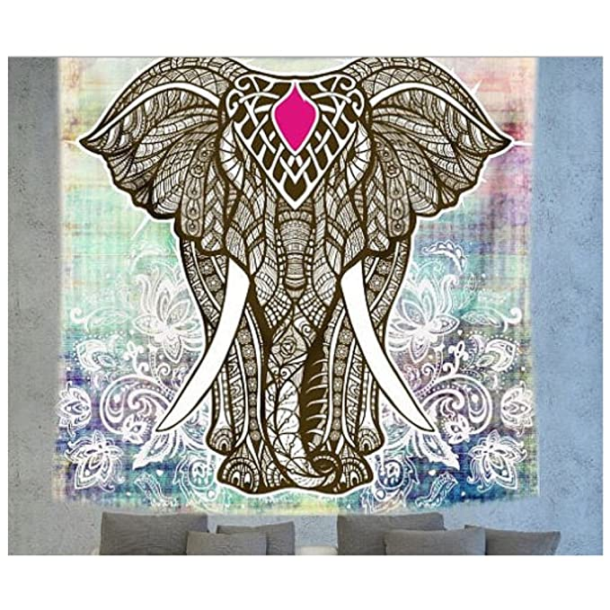 Amazon.com : KRWHTS Tapestry Polyester Wall Tapestry Indian Elephant Tapestry Lotus Yoga Mat Home Decor Carpet toalla mandalas playa (150200 cm(60