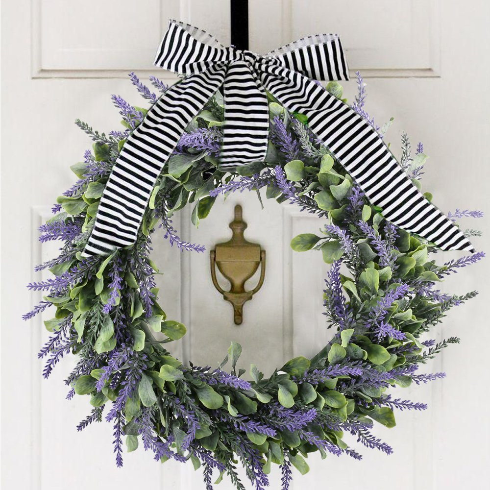 Evoio Artificial Lavender, 17'' Wreath DIY Silk Flowers Garland Pendant for Front Door Wall Home Wedding Decoration- purple by Evoio (Image #2)