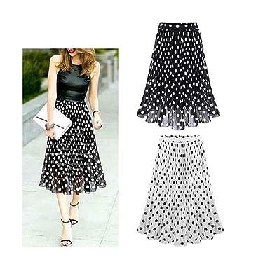 Phillip Dudley Chiffon Polka Dot Skirt Elastic Waist Pleated Skirt Beach A-Line Plus Size at Amazon Womens Clothing store: