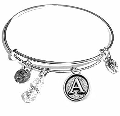 2a056d9a2ed Amazon.com  Hidden Hollow Beads Initial Expandable Wire Bangle Bracelet