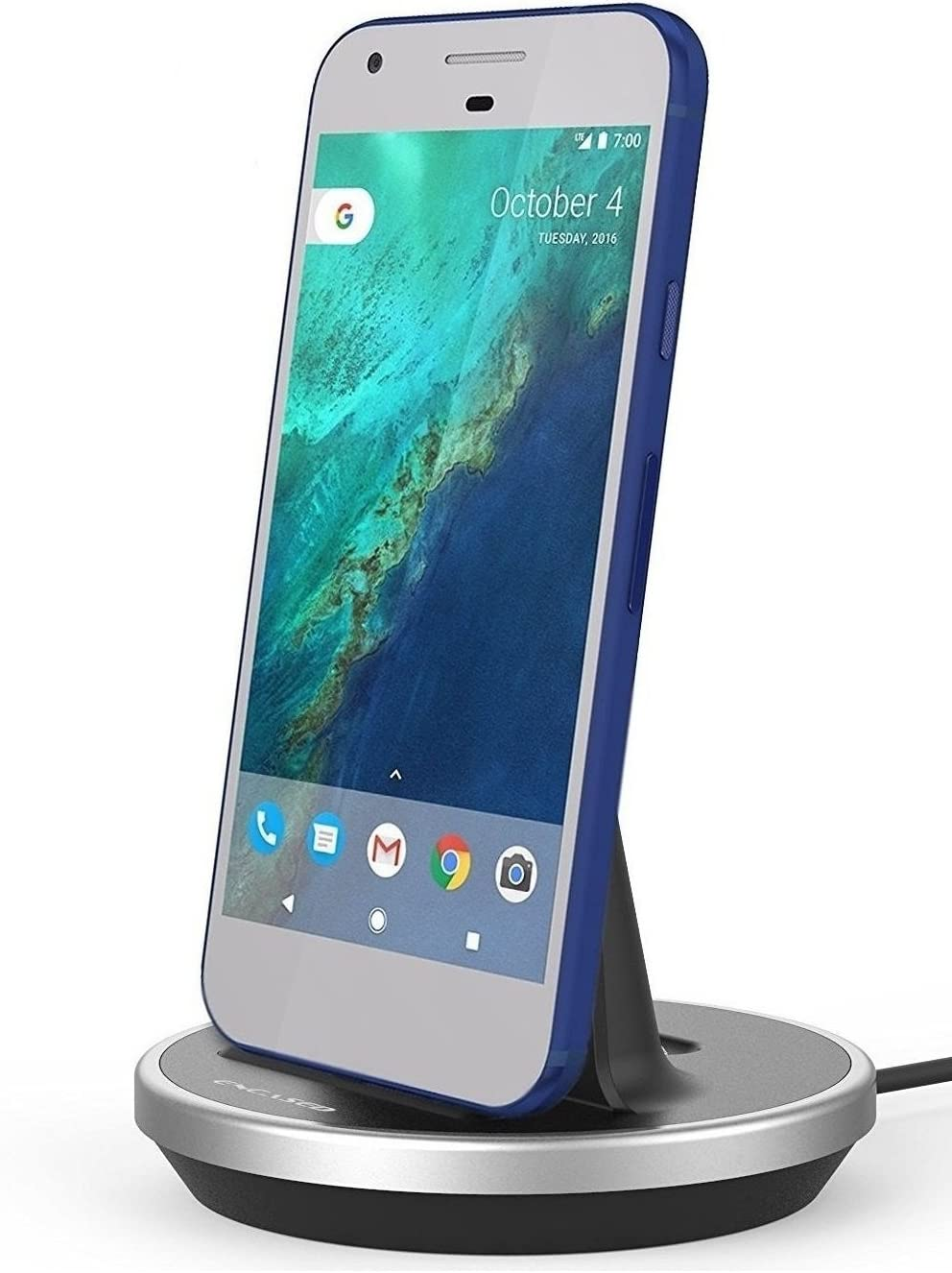 Encased Google Pixel/Pixel XL Desktop Charging Dock (Case Compatible) Height Adjustable Mount (Type C Charger) (Aluminum/Black)