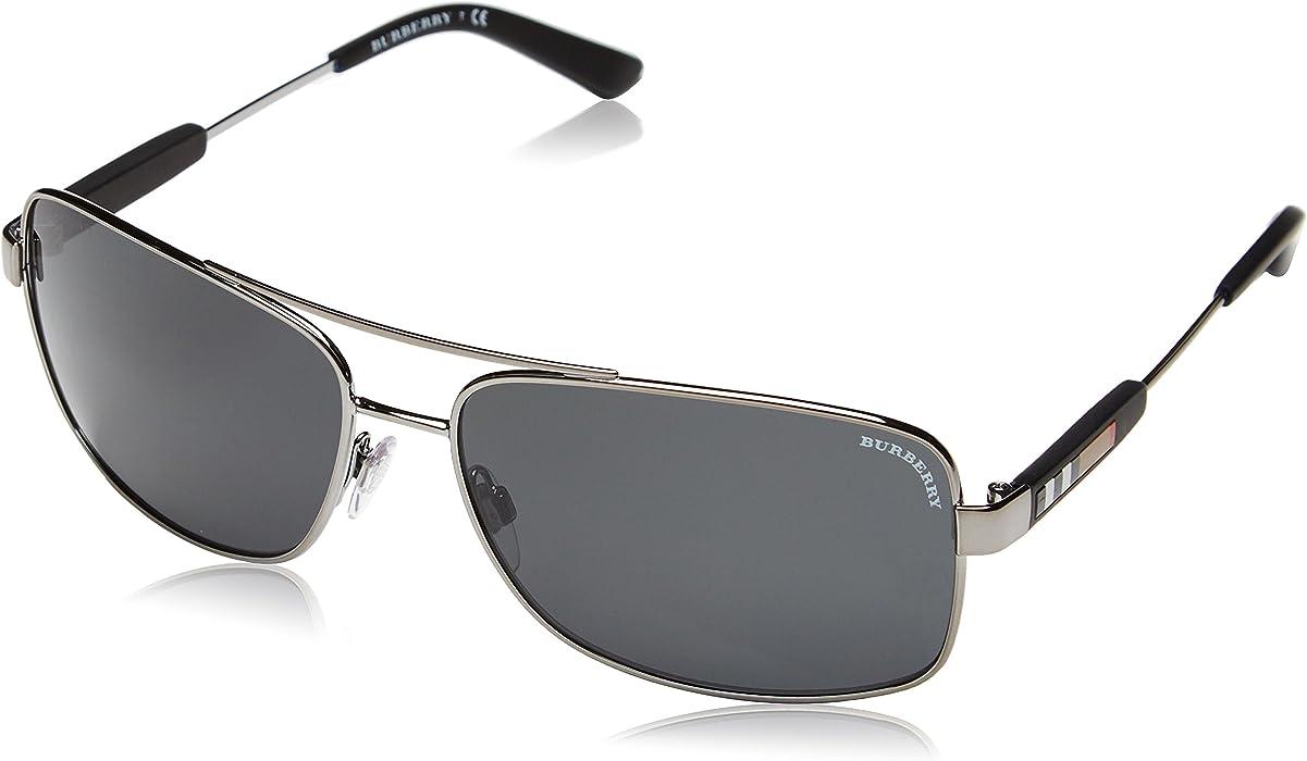 adbdd57ab0f Burberry Men s BE3074-100387-63 Silver Rectangle Sunglasses ...