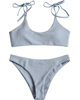 0f395a5bf3a1f ZAFUL Women's Sexy Tie Shoulders Ribbed Bikini Set Padded Strap Triangle  Swimsuit