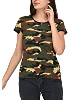 WYO Women's Camouflage Army Military Short Sleeve Top Tees T Shirt