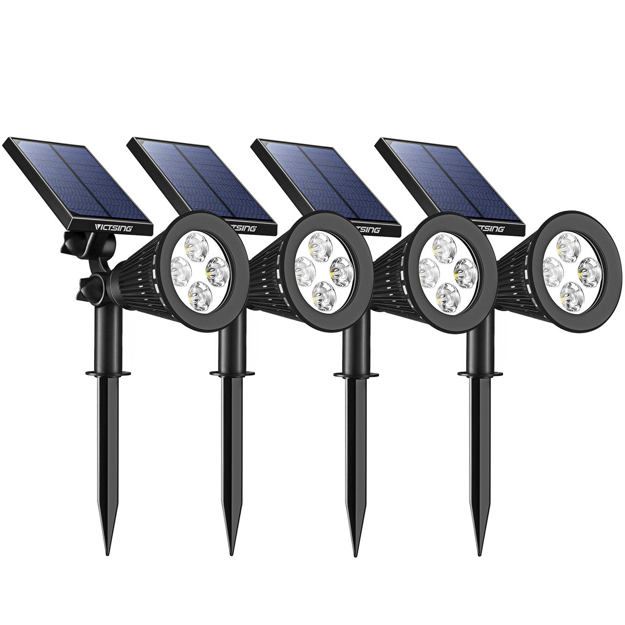 VicTsing 4Pcs 20 LED Solar Motion Sensor Lights, Super Bright Wireless Waterproof Outdoor Solar Powered Motion Activated Security Wall Light for Path,Porch,Deck, Driveway,Stairs, Garden