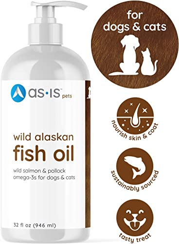 AS-IS 32 fl oz Wild Alaskan Salmon Pollock Fish Oil for Dogs Cats to Nourish Skin Coat Support Joint Heart Health