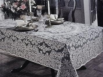 Quaker Lace Kensington 60u0026quot; X 80u0026quot; Oval White Cotton Blend Lace  Tablecloth