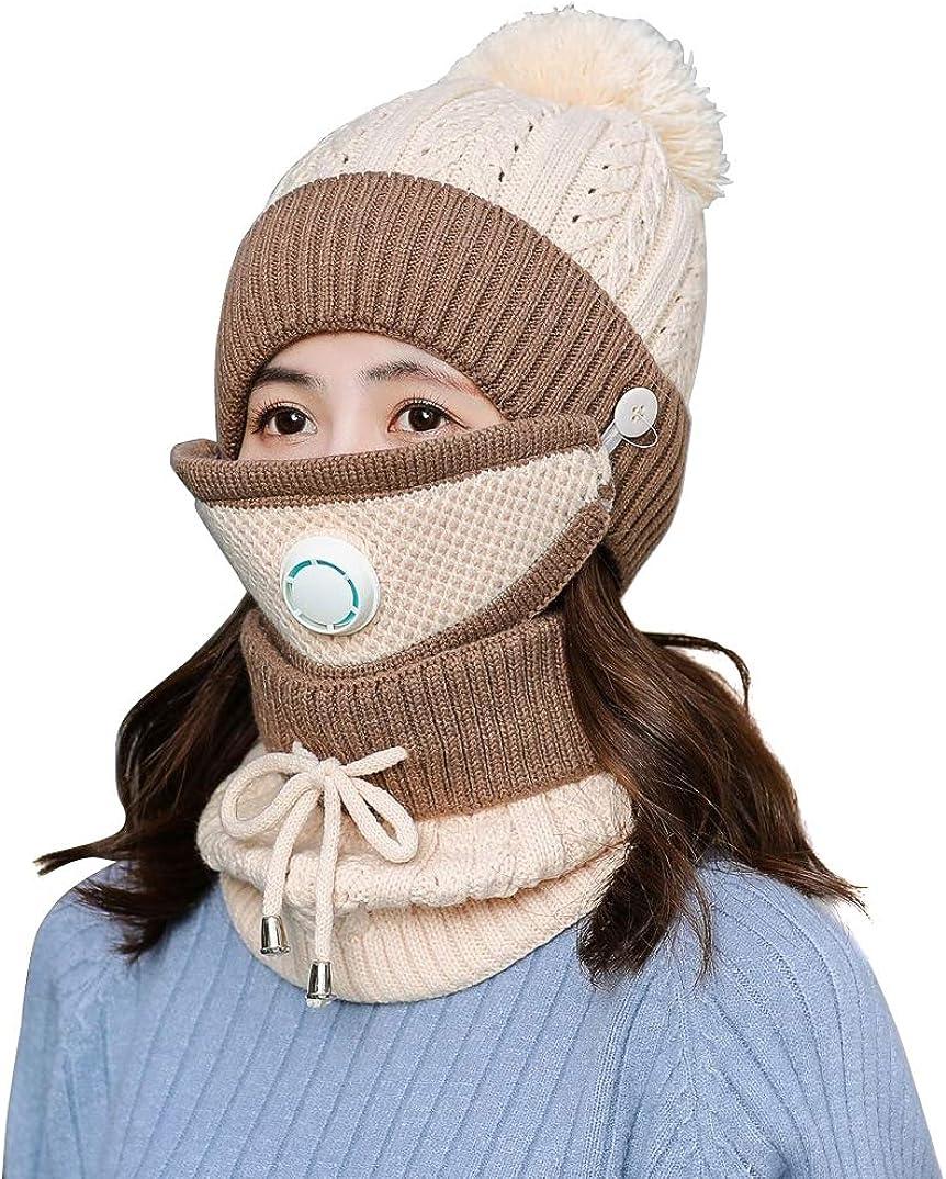 Women Bib Beanie Hat Pom Bobble Scarf Mask Set Knitted Winter Warm Snow Ski Cap