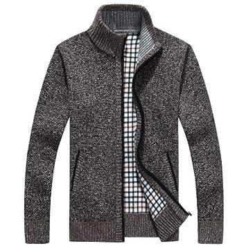 FEIDAO Hombr Jerseys Otoño Invierno Hombre Sweatercoat Suéter Chaquetas Hombres Cremallera Punto Grueso Abrigo Casual Prendas De Punto M-3Xl: Amazon.es: ...