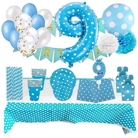 Set de Artículos Accesorios Completo para Decoración Fiestas Cumpleaños Bebé Lote Sirve 16 Invitados (Niño de 9 años)