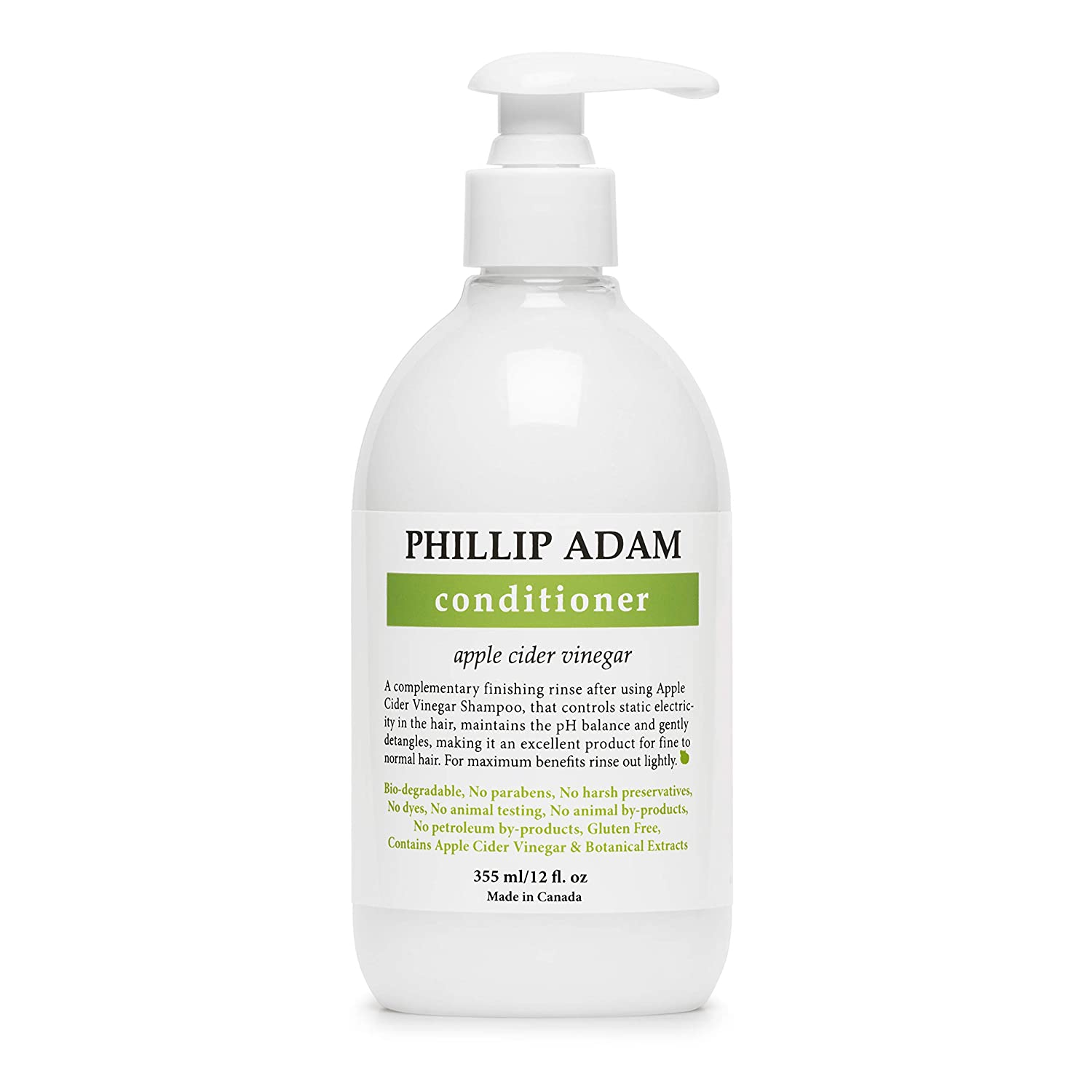 Phillip Adam Apple Cider Vinegar Conditioner for Shiny Hair - No Harsh Preservatives - For All Hair Types - 12 Ounce