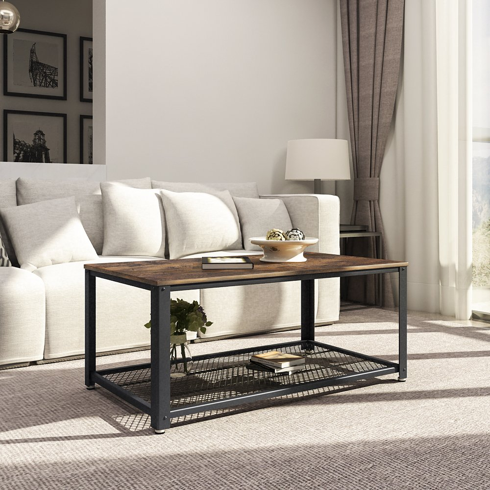 SONGMICS Antique Coffee Table Vintage Cocktail Table with Storage Shelf for Living Room
