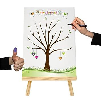Fingerabdruckbaum Geburtstag Herz Leinwand Gastebuch Partyspiel