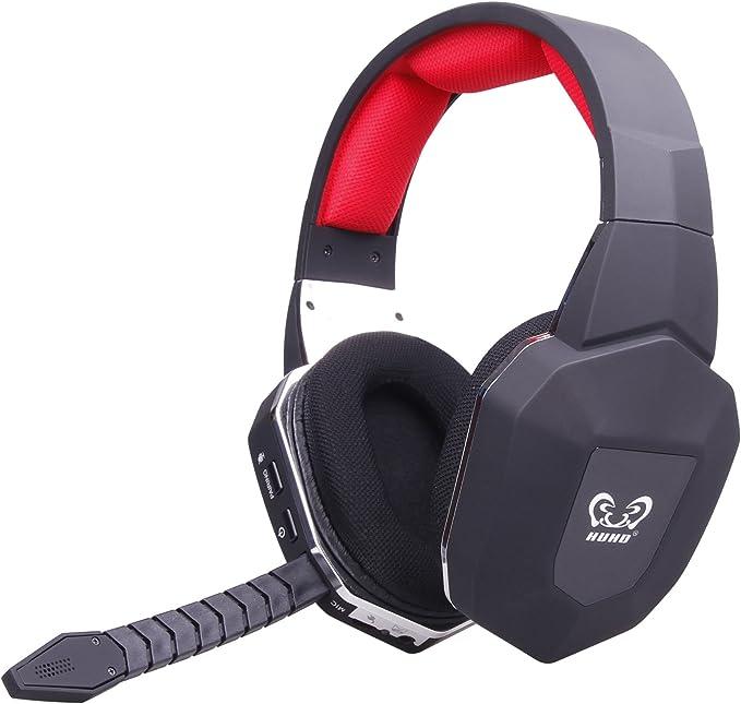 HUHD® Auriculares ópticos inalámbricos para juegos de 2,4 GHz para XBox 360, PS3/4, PC, Xbox One, estéreo profesional, auriculares de videojuegos, cancelación de ruido: Amazon.es: Electrónica