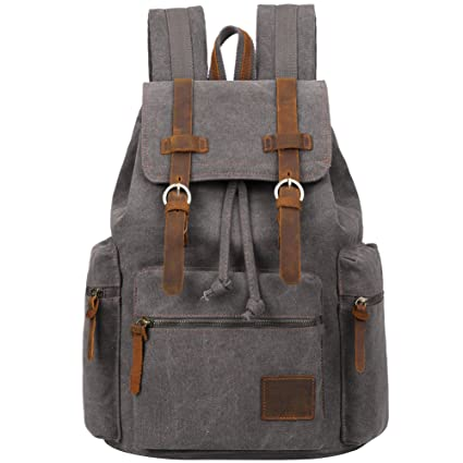 deba4dc504 Vintage Men Casual Canvas Leather Backpack Rucksack Bookbag Satchel Hiking  Bag by Berchirly  Amazon.ca  Sports   Outdoors