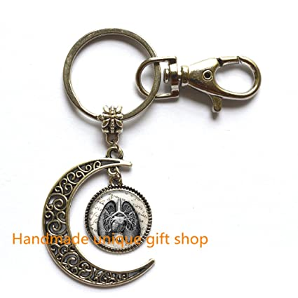 delicate moon keychain,fashion moon keychain,antique lungs diagram moon key  ring/moon