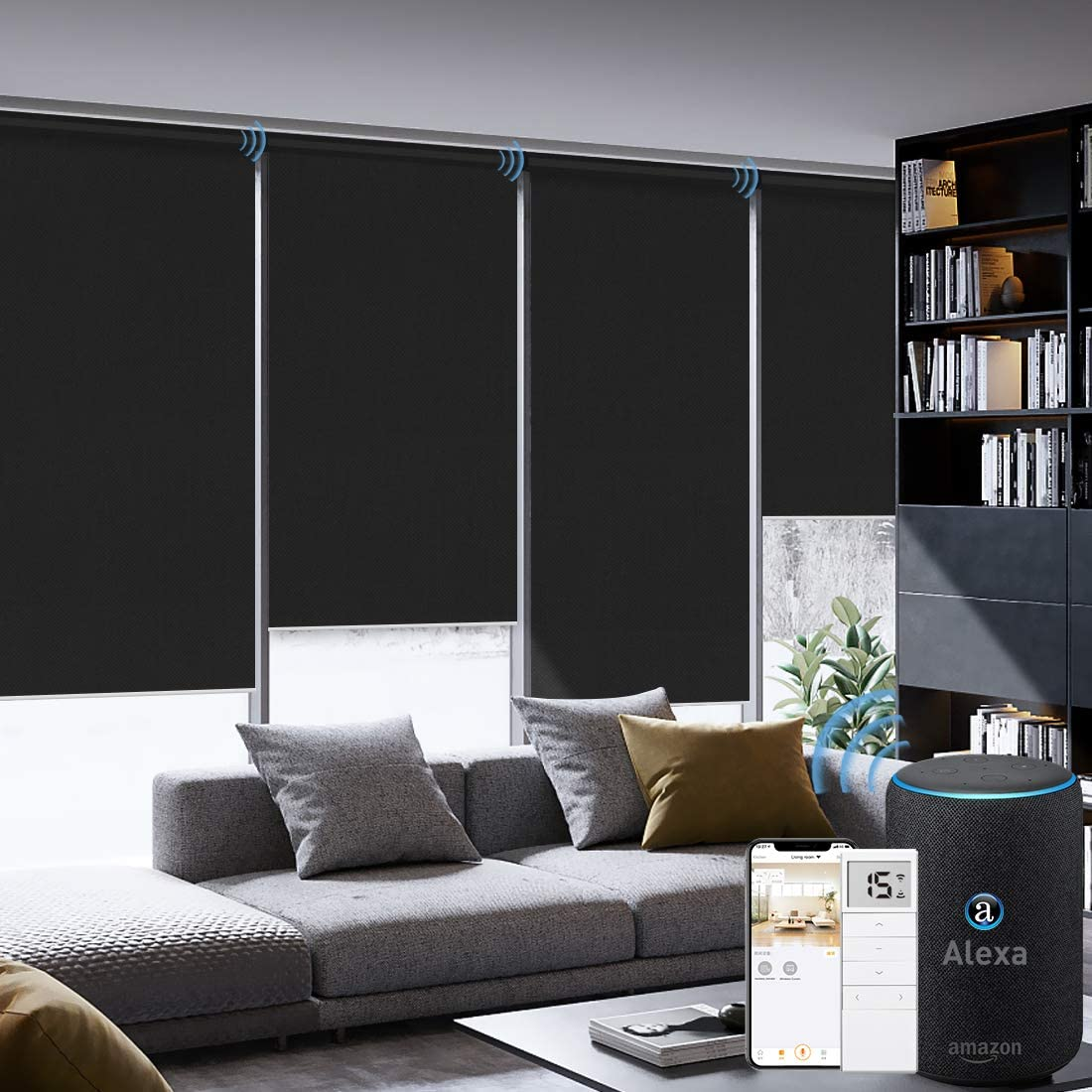 Graywind Motorized Roller Shade Compatible with Alexa Google 100% Blackout Rechargeable Smart Blinds Remote Control Battery Motor Cordless Window Shades, Customized Size (Black)