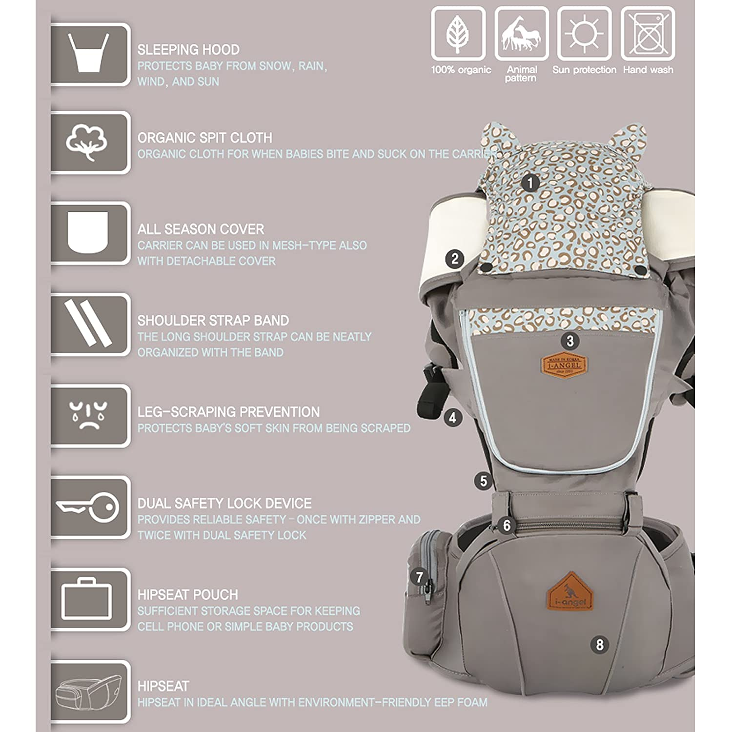 Amazon.com : Animal Hipseat + Baby Carrier/THE DADS AWARDS SILVER WINNER-BEST BABY CARRIER (Camel) : Baby