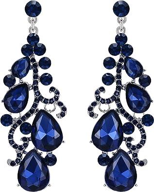 Vidrio Y Plateado Plata Pendientes Colgantes de gota de lágrima Azul Con Bolsa De Regalo Gratis