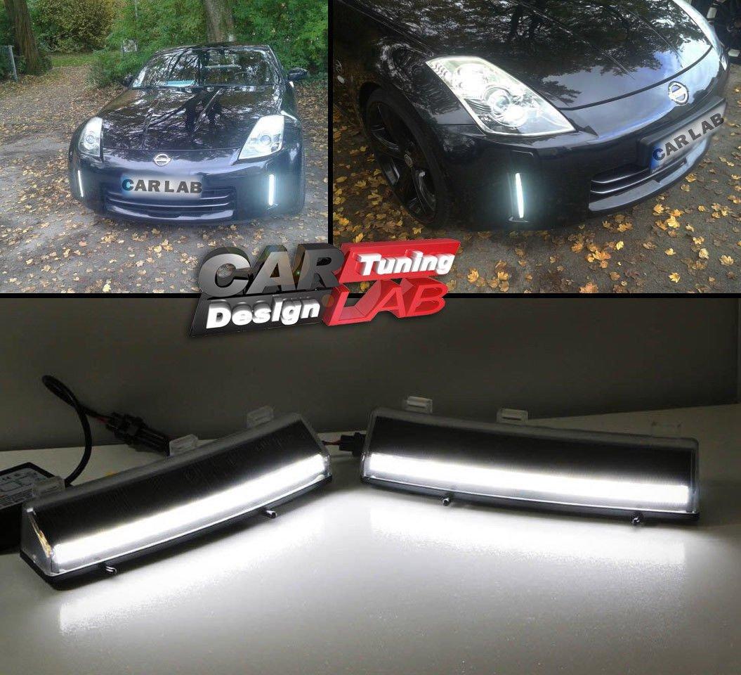 (2) LED Drl Luz de Conducció n Diurna Parachoques Reflectores CAR LAB