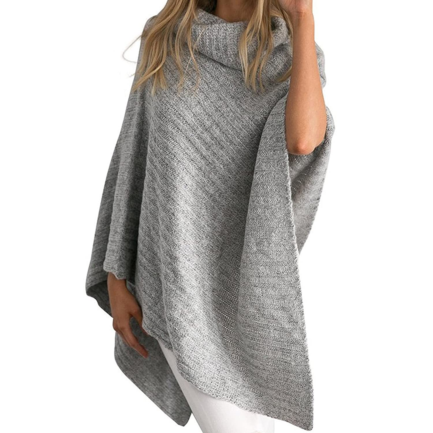Fashion Story Women's Chic Turtleneck Knitted Poncho Pullovers Sweater