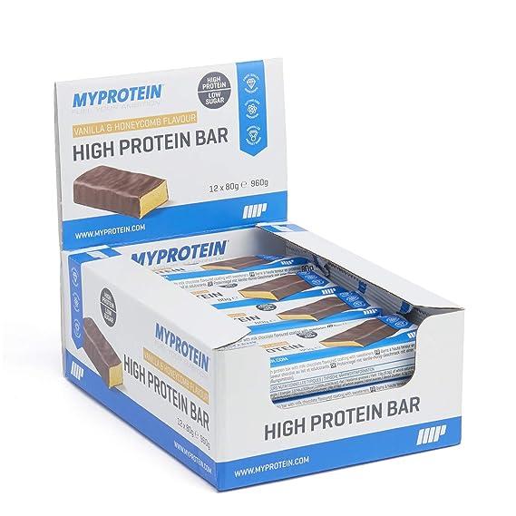 MyProtein High Bar Barritas de Proteínas, Sabor Vainilla y Miel - 12 Barras: Amazon.es: Salud y cuidado personal