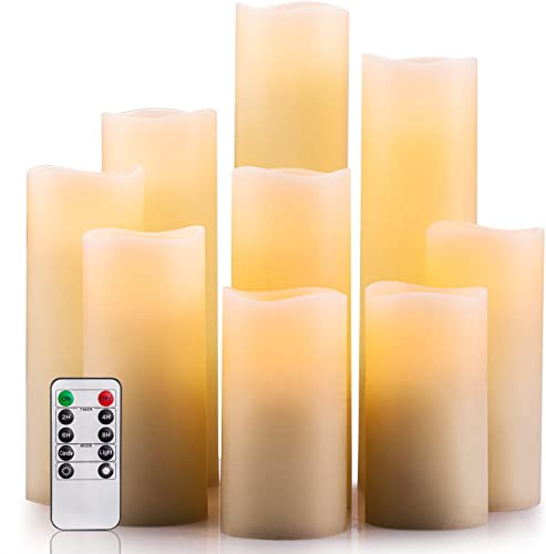 Enpornk Flameless Candles Battery Operated Candles 4 5 6 7 8 9 Set of 9 Ivory Real Wax Pillar LED Candles with 10-Key Remote and Cycling 24 Hours Timer