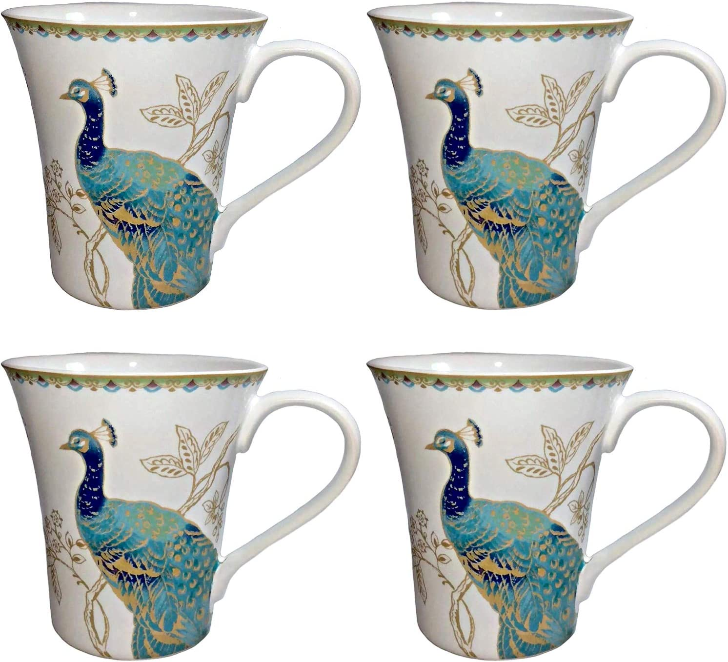222 Fifth Peacock Garden Fine Porcelain Coffee Mugs | Set of 4