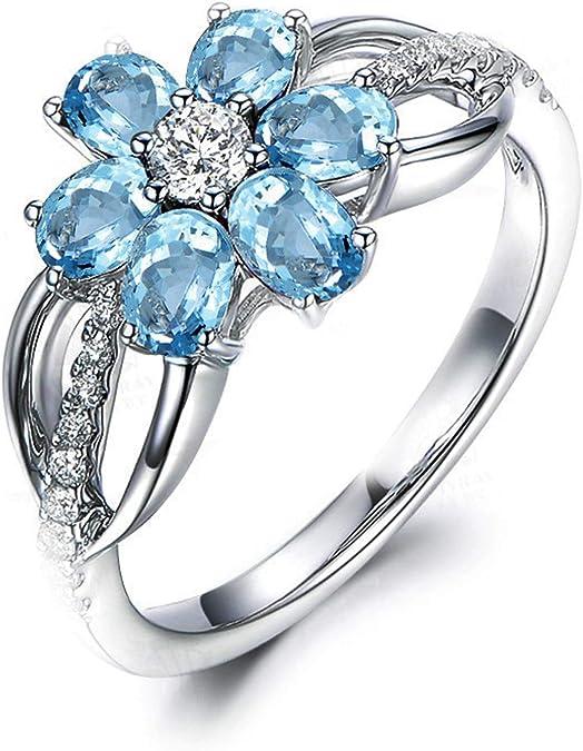 Blisfille Joyas Anillo Bisuteria Grandes Mujer Anillo de Flower Anillo de Compromiso Oro Blanco y Diamante Anillo de Plata de Ley 925,Azul del Tamaño 25: Amazon.es: Joyería