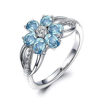 c9c4b117818a Blisfille Joyas Anillo Bisuteria Grandes Mujer Anillo de Flower Anillo de  Compromiso Oro Blanco y Diamante Anillo de Plata de Ley 925