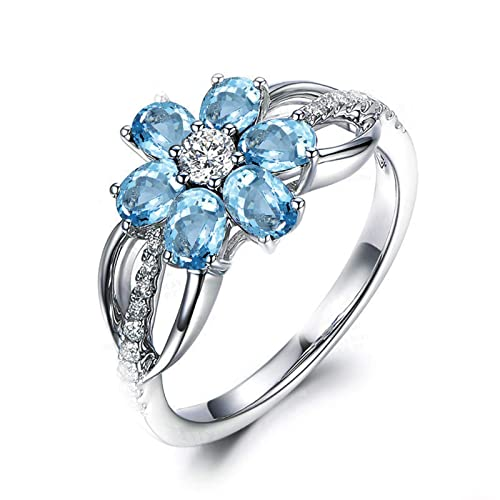 Blisfille Joyas Anillo Bisuteria Grandes Mujer Anillo de Flower Anillo de Compromiso Oro Blanco y Diamante Anillo de Plata de Ley 925,Azul del Tamaño 25: ...