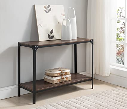 Kings Brand Furniture - Lorenzo Antique Finish Console Sofa Table, Black/Walnut