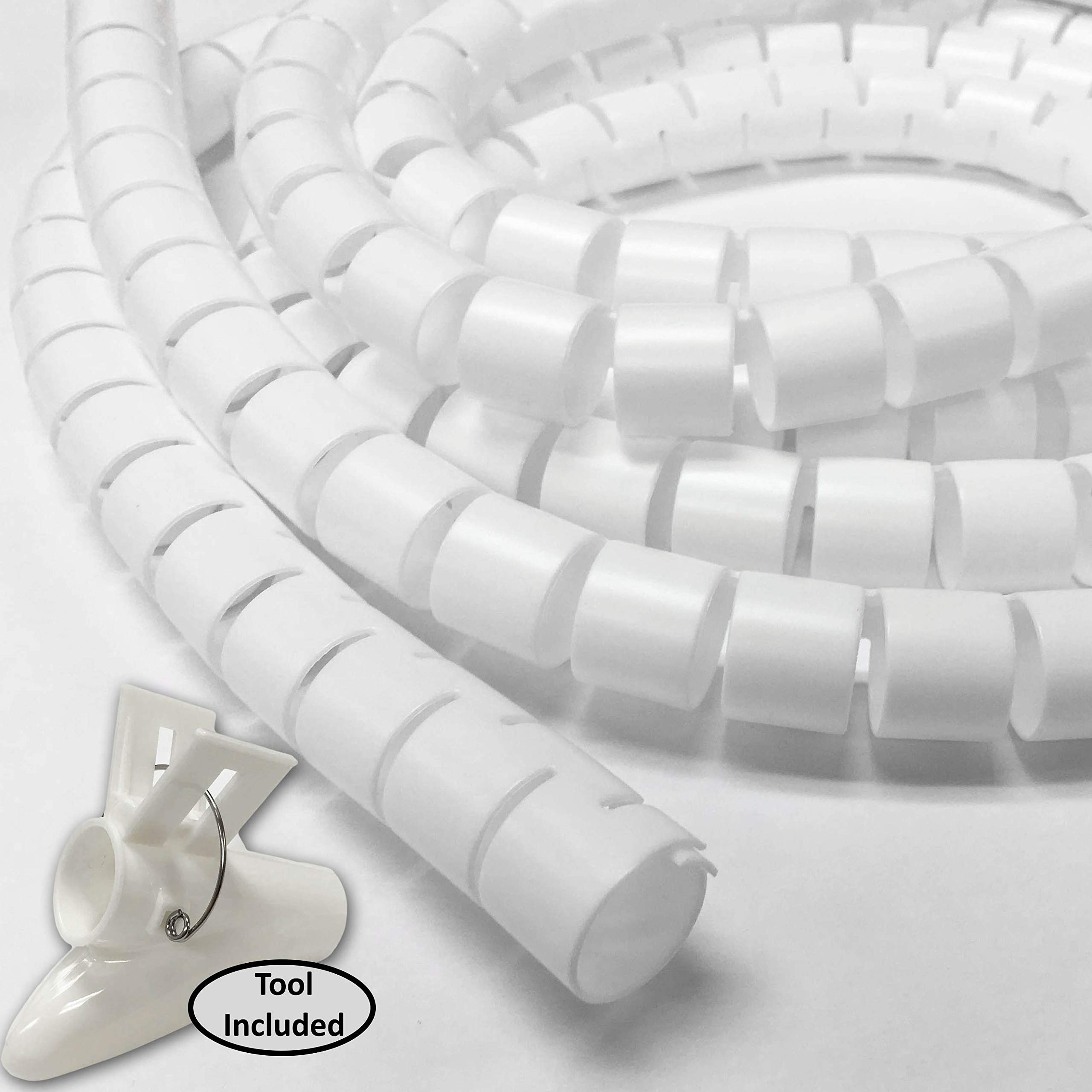 1.25'' Easy Wrap Cable Manager - Length: 10FT - Color: White