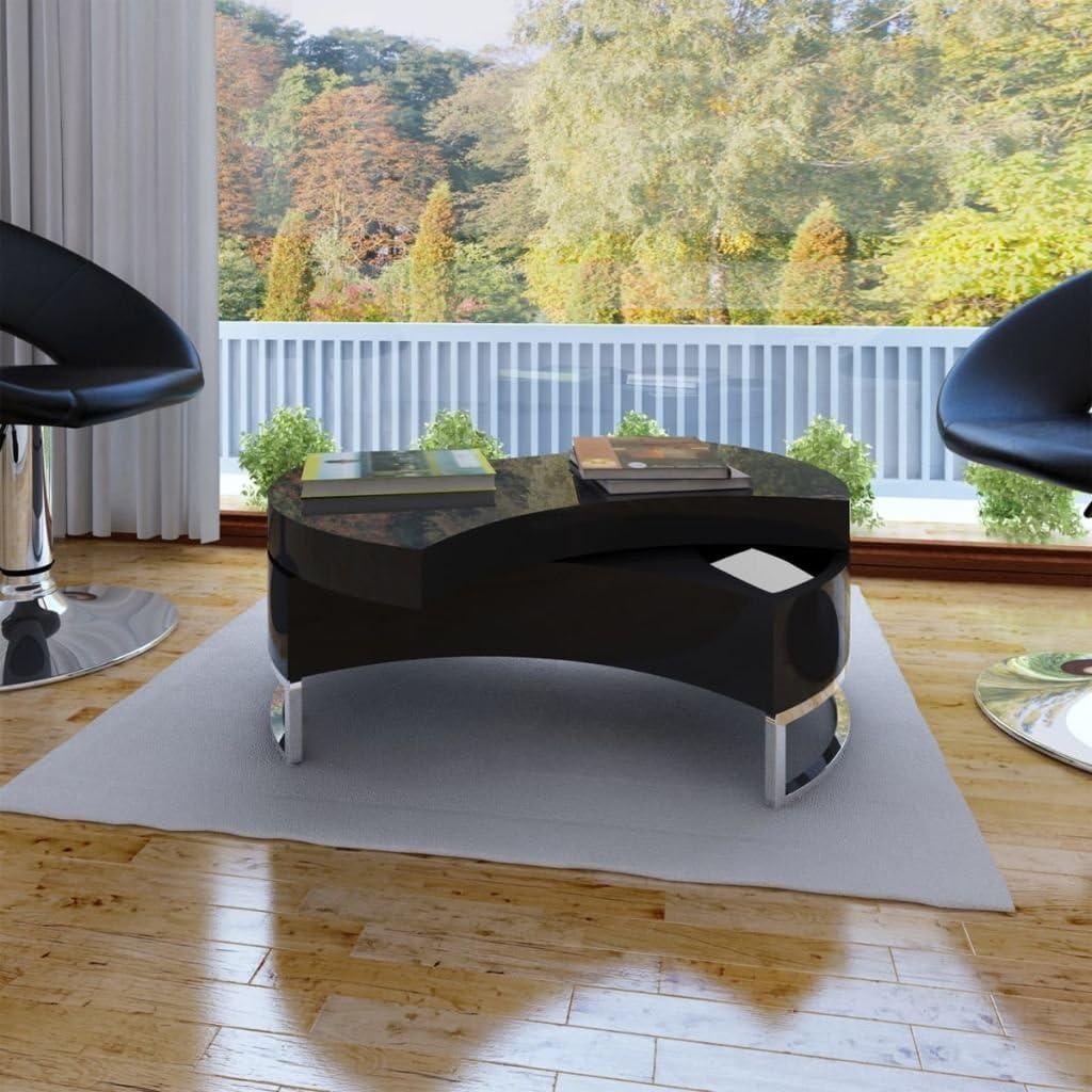 vidaXL Tavolino da caff/è Forma Regolabile Bianco Lucido Basso Tavolo Salotto