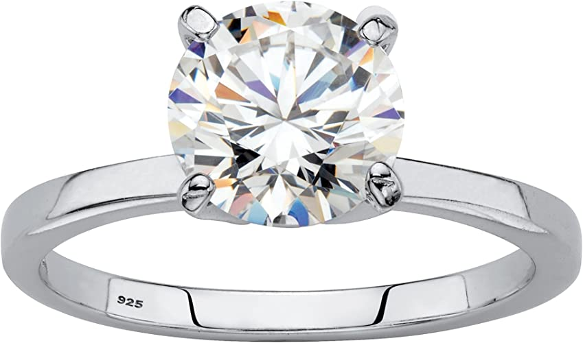 Ladies 925 Sterling Solid Silver Brilliant Cut Solitaire White Sapphire Ring