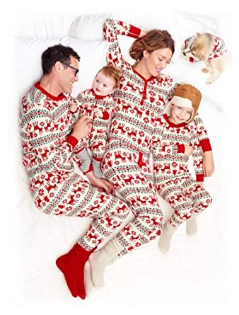 9d73b0b4e5 Chof Family Christmas Pajamas Set Reindeer Print Matching PJ Long Sleeve  Sleepwear Clothes for Whole Family