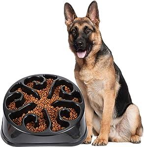 JASGOOD Large Dogs Bowl,Fun Slow Feeder Dog Bowl,Anti-Gulping Dog Slow Feeder Stop Bloat,Eco-Friendly Durable Big Pet Bowl