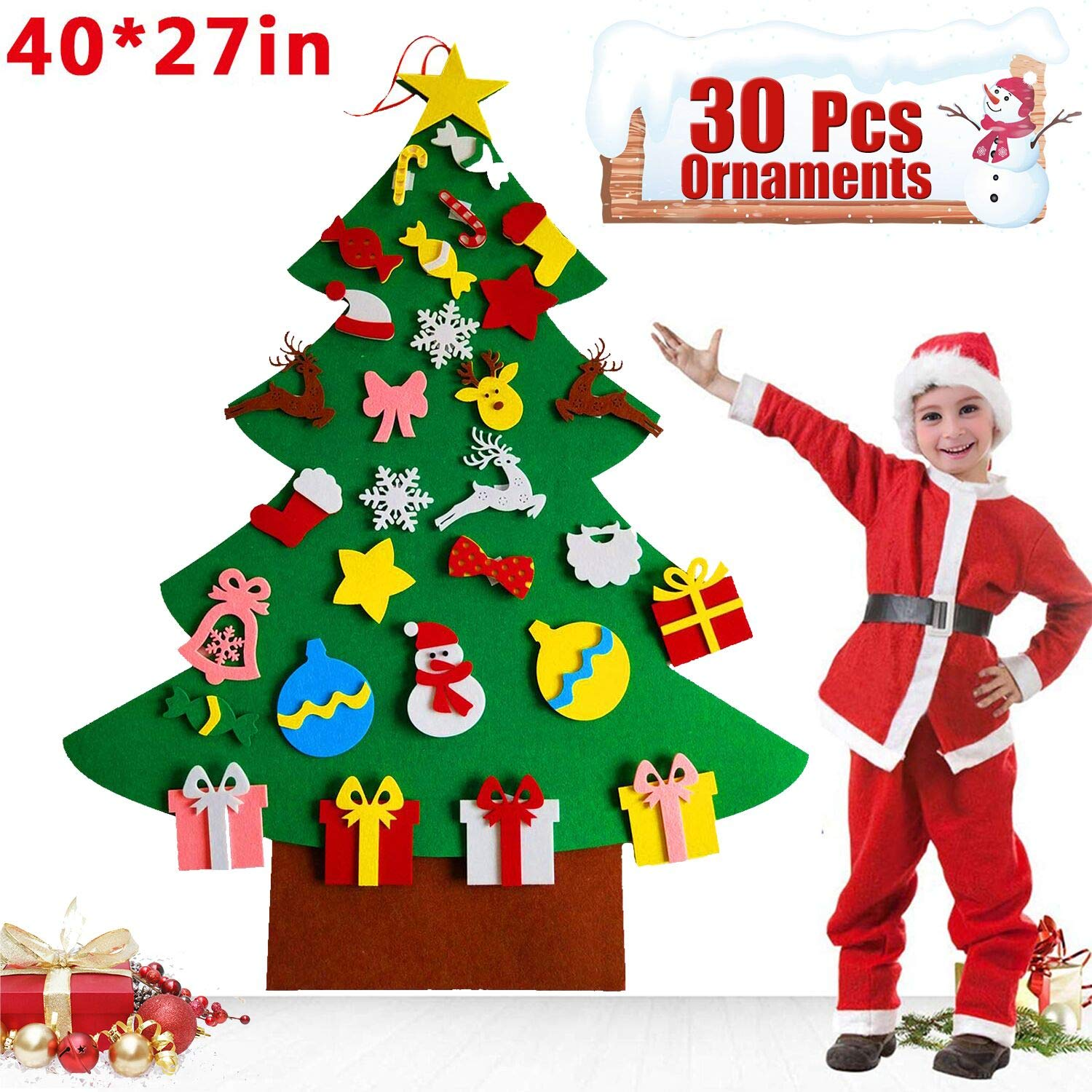 Felt Christmas Tree Set for Kids Toddlers 30pcs Ornaments 3.2ft DIY Christmas Tree Kids Xmas New Year Gifts Xmas Detachable Home Door Wall Hanging Ornaments Christmas Decorations