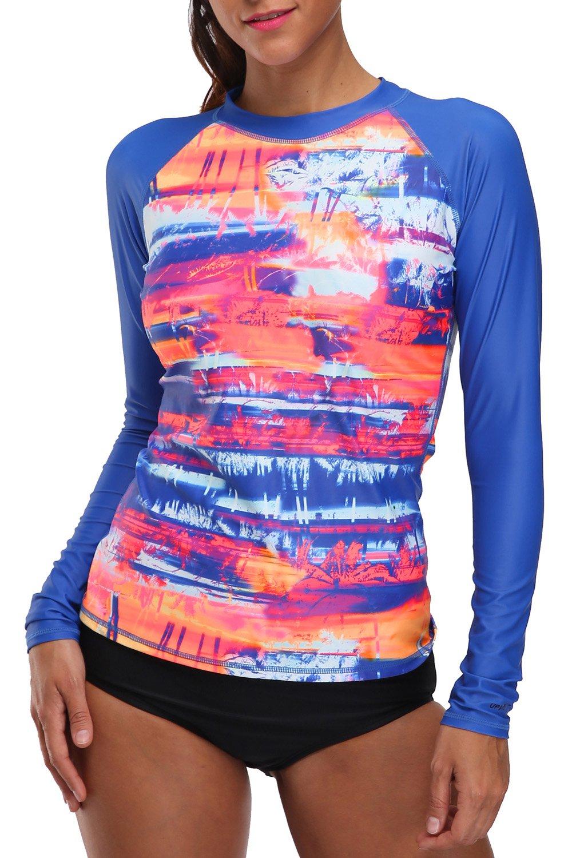 V FOR CITY Women's Long Sleeve Rashguard UPF 50+ Rash Guard Top UV Swim Shirt Swimsuit Top XL