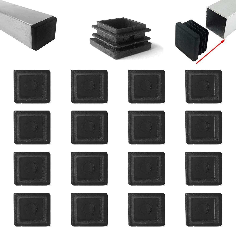 Zaky 16 pezzi Tappi Lamellari per Tubi Quadrati 50x50 mm Connettore in Plastica Nera per Tubo Quadrato nero