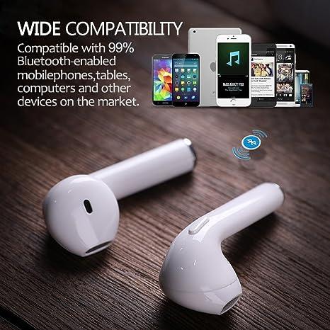 Auriculares Bluetooth Auriculares Inalámbricos Auriculares Deportivos Manos Libres Auricular inalambricos con Cargador Portátil para iPhone X, 8, 8 Plus, ...
