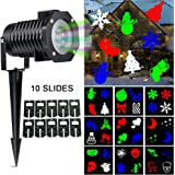 Ucharge Led Christmas Projector Light, Indoor Outdoor Landscape Led Projector Light Show, 10 Slides Multi Dynamic Lighting Rotating Night Light Snowflake Spotlight Party, Holiday Decoration