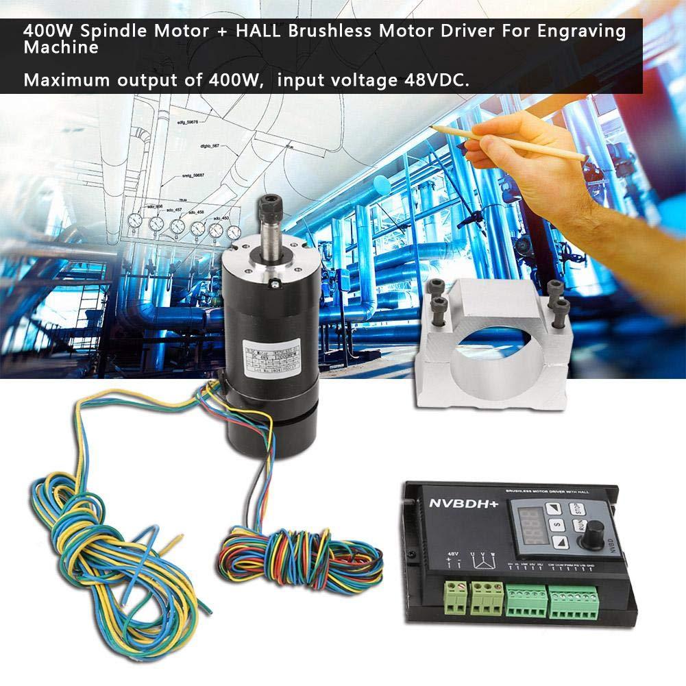 Motore con motore mandrino CNC 400W regolatore di velocit/à del motore Brushless HALL con staffa ER8 per macchina per incidere CNC