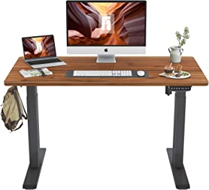 FEZIBO Height Adjustable Electric Standing Desk, 48 x 24 Inches Stand Up Table, Sit Stand Home Office Desk with Splice Board, Black Frame/Espresso Top