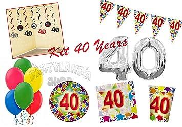 Partylandia Kit de Fiesta 40 años de cumpleaños para 20 ...