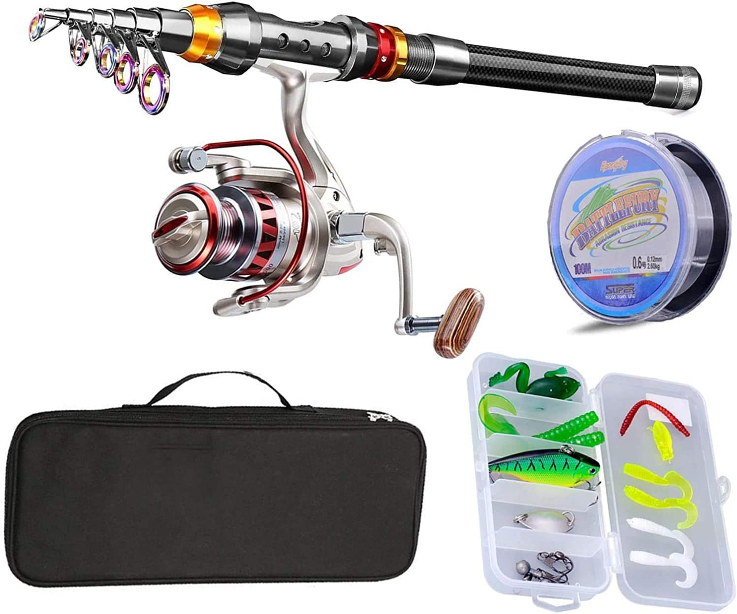 Fishing Rod Reel Combo Carbon Fiber Telescopic Spinning Fishing Pole Tackle Gear