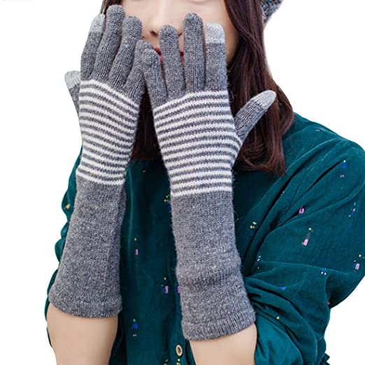 Lerben Womens Cable Knit Arm Warmer Thumb Hole Gloves Mittens With