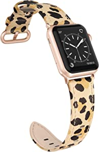 SWEES Leather Band Compatible for Apple Watch 38mm 40mm, Thin Dressy Elegant Genuine Leather Straps Compatible Apple Watch iWatch Series SE 6 5 4 3 2 1 Sport Edition Women Leopard Print with Rose Gold Buckle