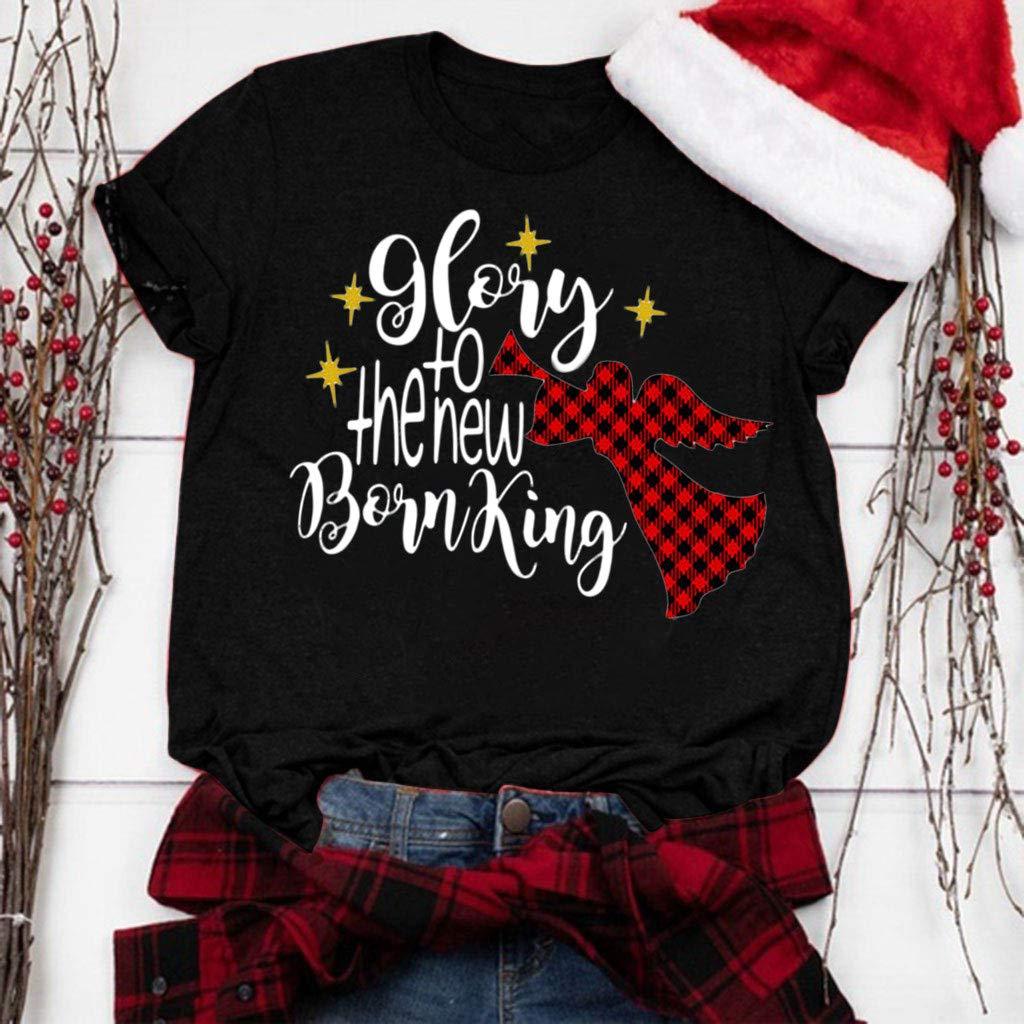HAPPIShare Glong to The New Boinking Christmas Plaid Patchwork Print Baseball T Shirt Tees Long Sleeve Tops Blouses