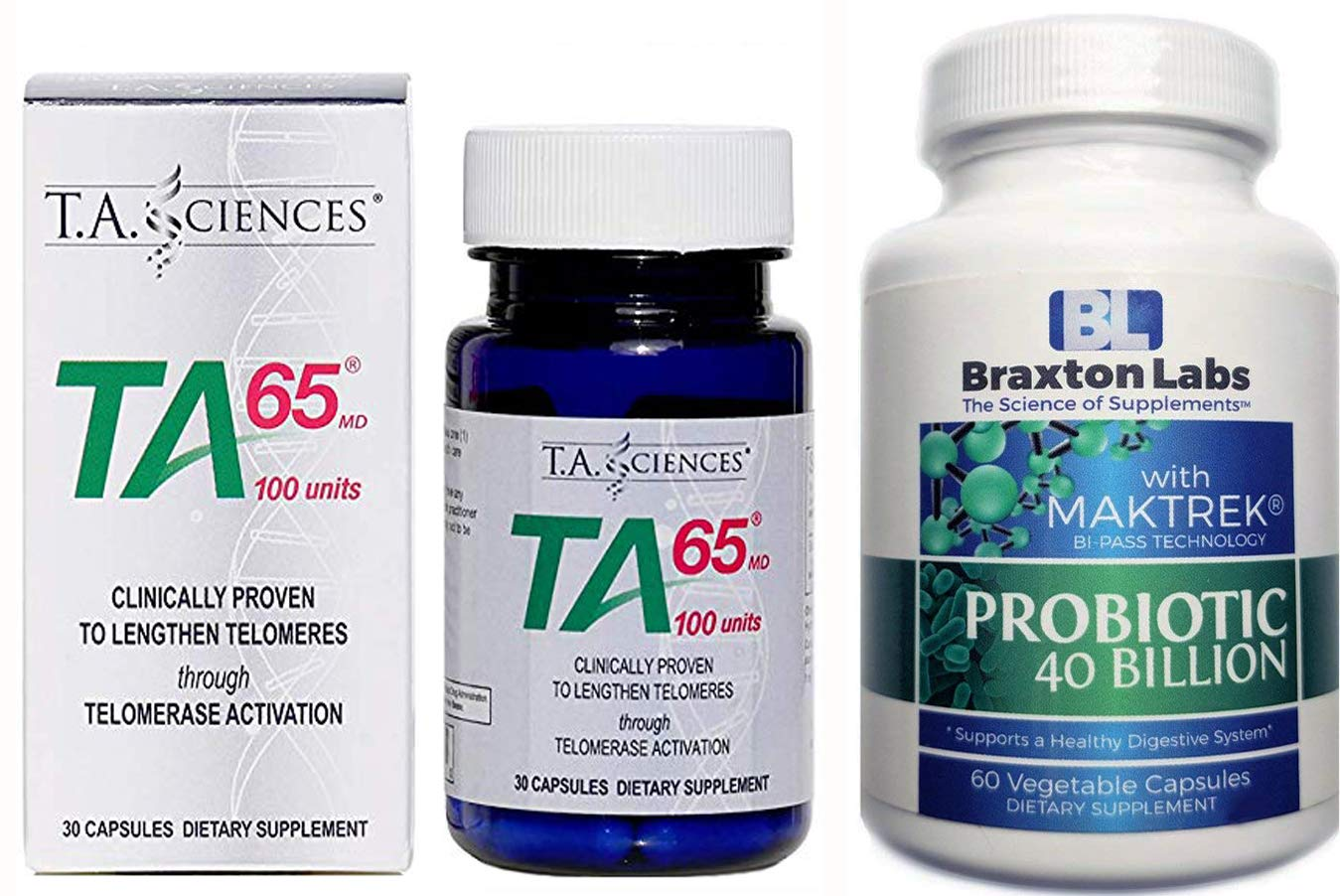 T.A. Sciences TA-65 30 Capsules Includes Free Bottle of Braxton LabsProbiotic 60 Vegetable Caps